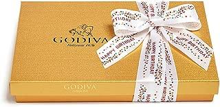 Godiva Chocolatier Assorted Chocolate Gold Gift Box, Happy Birthday Ribbon, Chocolate Birthday Gift, 36 pc