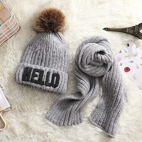 TJZY Girl Knitted Beanie Hat Scarf Child Pompons Plus Velvet Thicken Lined Solid Cap Warm Print/Grey/As Shown