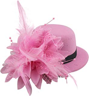 Song Qing Flower Decor Hair Clip Feather Fascinator Burlesque Mini Top Hat for Women Lady