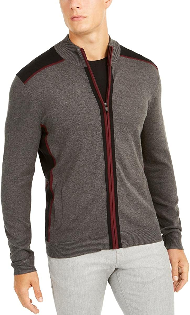 Alfani Mens Colorblock Classic Full Fit Sweater Sale Special Year-end gift Price Zip