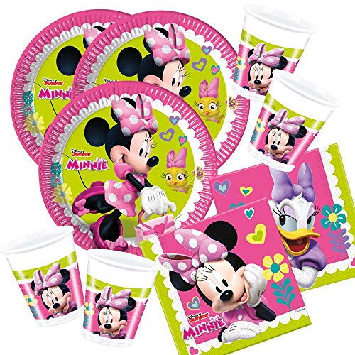 52-teiliges Party-Set Minnie Mouse - Minnie Happy Helpers - Teller Becher Servietten für 16 Kinder