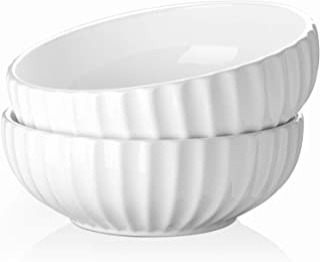 DOWAN 2.7 Quart Porcelain Salad, Soup, Pasta Bowls, Large Serving Bowl Set, Anti Slip and Stackable, 2 Packs, White