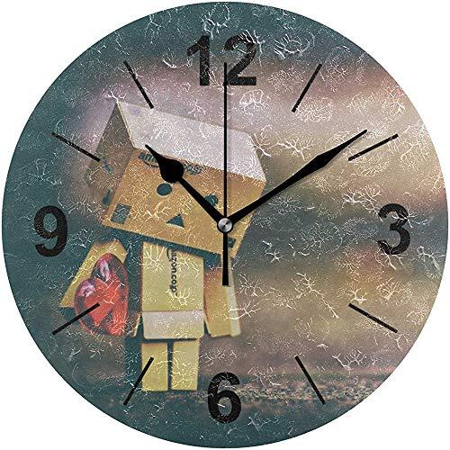 L.Fenn Wandklok, rond, trouwachtig verlangen liefde Danbo Danbo-figuur, schattig decoratief silent diameter print