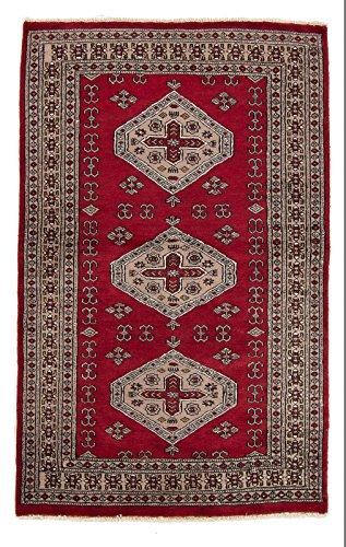 CarpetFine: Pakistan Buchara 2ply Teppich 98x154 Grau,Rot - Handgeknüpft - Ornament