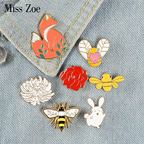 XUEKE 7pac Forest Elf Collection Enamel Pins Cartoon Animals Brooches Fox Bee Rabbit Flowers Lapel Pin Custom Badges Gift For Kids Girl