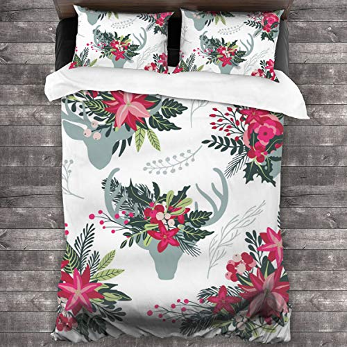 3-Piece Bedding Set Set Of Colorful Christmas Floral Bouquets 100% Natural Polyester,1 Duvet Cover And 2 Pillowcases,Ultra Soft And Breathable