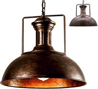 Vintage Pendant Light Industrial Metal Barn Lamp Shade Antique Bowl Shaped Iron Wrought Adjustable Chains Ceiling Light Chandelier (Rust, 33cm)