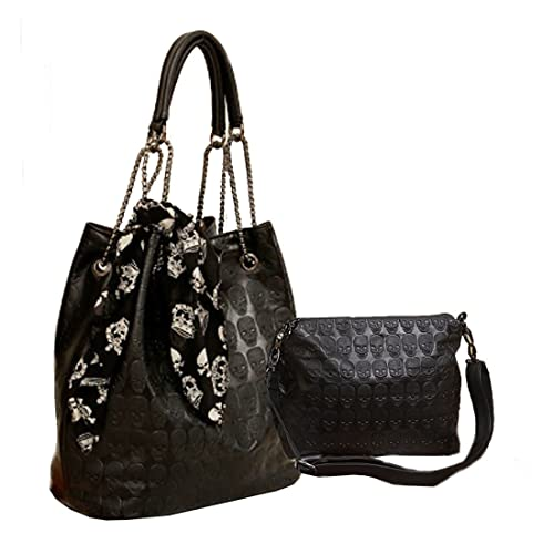 a606462e28a8 Womens Skull Print PU Leather Hobo Tote Shoulder Bag Package Handbag with  Gift