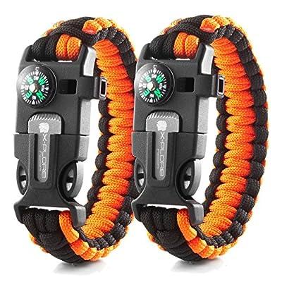 X-Plore Gear Emergency Paracord Bracelets   Set of 2  The Ultimate Tactical Survival Gear  Flint Fire Starter, Whistle, Compass & Scraper   Best Wilderness Survival-Kit - Orange(R)/Orange(R)