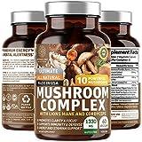 N1N Premium Mushroom Complex [10X Powerful Mushrooms] with Reishi, Lions Mane, Cordyceps, Chaga, Turkey Tail and Maitake to Boost Health, Brain Functions and Energy Levels, 60 Veg Caps