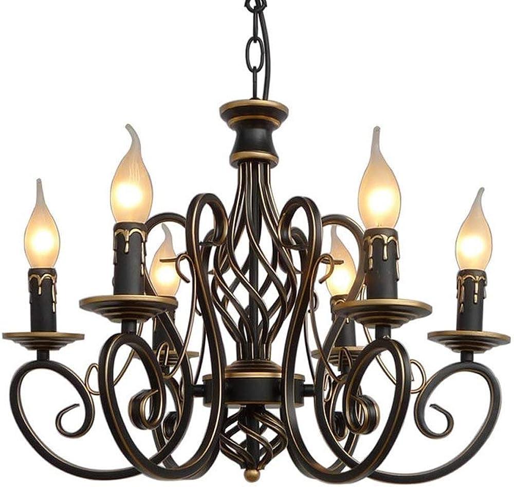 Xajgw lampadario rustico a candela in ferro battuto