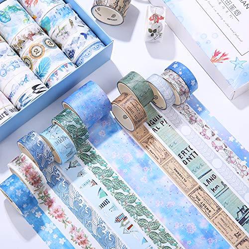 mreechan washi tapes set,40 Rollos de Cinta Washi Cinta Adhesiva Decorativa para DIY manualidades, Revistas, planificadores, tarjetas, scrapbook,calendario, diario de la Biblia y envoltura de regalos