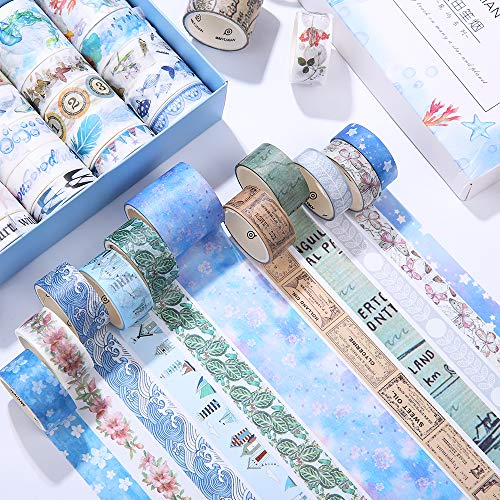 mreechan washi tapes set,40 Rollos de Cinta Washi Cinta Adhesiva Decorativa para DIY...