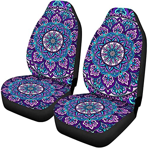 Funda universal para asiento delantero, estilo bohemio, mandala floral, morado, 2 piezas, protectores de asiento para mujeres y niñas, apto para la mayoría de coches SUV o sedán