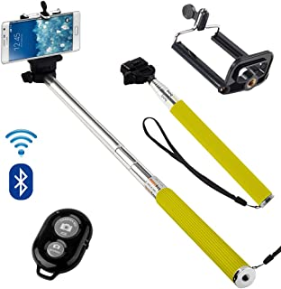 N4U Online/® Microsoft Lumia 650 Extendable Selfie Handheld Stick Monopod with Adjustable Phone Holder and Bluetooth Remote Wireless Shutter Yellow