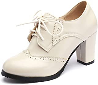 Odema Womens PU Leather Oxfords Brogue Wingtip Lace up Dress Shoes Chunky High Heels Pumps Oxfords