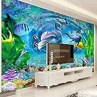 カスタム壁画ウォールペーパー家の装飾寝室キッズルーム 3D イルカ水中世界のリビングルームのテレビの背景の壁の装飾の絵画,350(W)×256(H)Cm