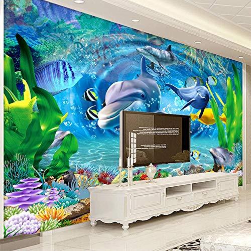 HJLXDP pegatinas de pared Vinilo autoadhesivo Delfín mundo submarino azul Fuera de la Agrietada Pared Decorativos Calcomanías de Pared de Vinilo Extraíble para Sala de Estar Dormitorio