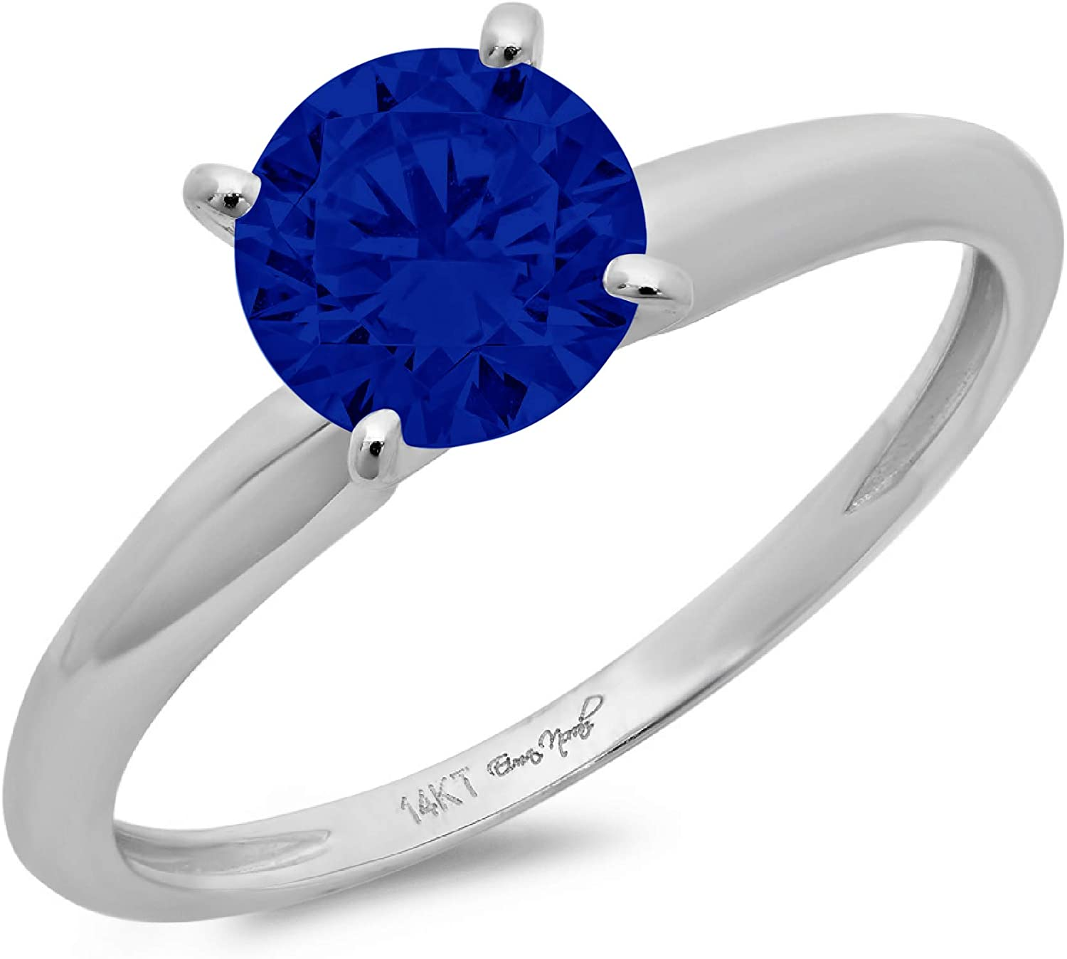0.4ct Brilliant Round Cut Solitaire Flawless Simulated CZ Blue Sapphire Ideal 4-Prong Engagement Wedding Bridal Promise Anniversary Designer Ring in Solid 14k white Gold for Women