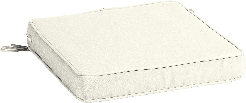 Arden Selections ProFoam EverTru Acrylic 20 x 20 x 3.5 Inch Outdoor Dining Chair Cushion, Sand Cream