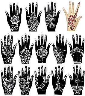 Xmasir 14 Stück Indien Henna Tattoo Schablone Set für Frau