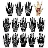 Xmasir 14 Stück Indien Henna Tattoo Schablone Set für Frauen Mädchen Hände Finger...