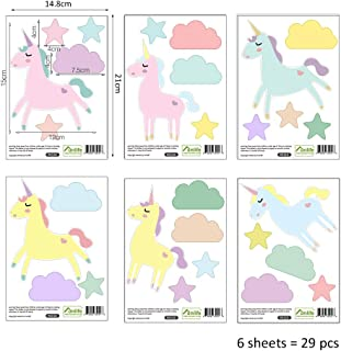 Finduat 29 Pcs Colorful Hand Painted Unicorn Stickers Prints for Wall, Floor Decals, Classroom Home Party Decoration, Home Kid's Room Creative Wallpaper Mural Art Decorations