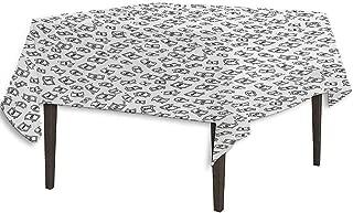 kangkaishi Money Leakproof Polyester Tablecloth Sketch Style Monochrome Raining Dollar Bills Cash Money Flying Bank Notes Design Dinner Picnic Home Decor W36.2 x L36.4 Inch Black White