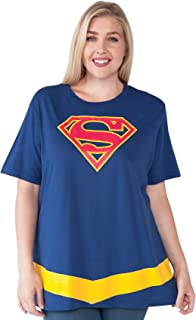 Plus Size T-Shirt Supergirl or Wonder Woman Logo Belt Print Costume
