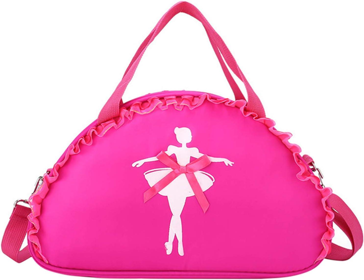 besbomig Bolsa de Ballet Danza Bolsa de Hombr de Nailon para Niña Bailarina Personalizada Bolsa de Deporte Gimnasio Viaje Escuela Bag con Encaje Bowknot, Rosa Roja