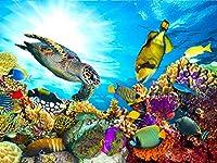 Darmeng DIY 5D ダイヤモンド絵画 カメ 魚 オーシャンサンゴ フルドリルキット ダイヤモンドアートダイヤモンドと数字キット クラフトキャンバス ホームウォールデコレーション用 12x16インチ
