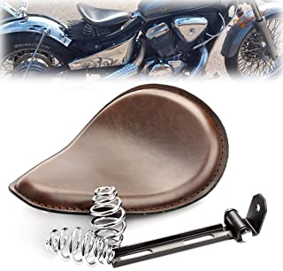 Qlhshop Motorcycle Brown Leather Solo Seat with Spring Bracket Kit for Harley Chopper Suzuki Yamaha Honda