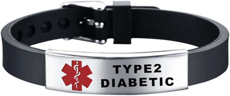 TCHYUN Medical Bracelet Silicone Adjustable Alert Medical ID Bracelets for Men Women Girl