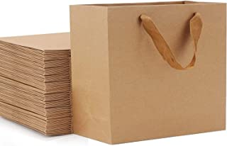 Tengcong Kraft Paper Shopping Bags,5.9x 2.3x 7.8 Kraft Paper Gift Bags with Handles Merchandise Bag 25pcs Kraft Paper Bags Retail Handle Bags Wedding Party Bag-Brown Party Bags