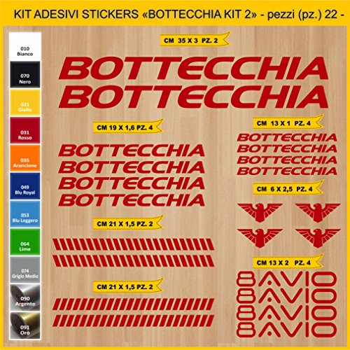 Pimastickerslab Aufkleber Fahrrad BOTTECCHIA_ KIT2 Kit Aufkleber Stickers 22 Stück – bici Bike Cycle wählbar Cod.0847 (031 ROSSO)