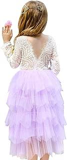 女婴露背长袖 A 字蕾丝后背花朵公主薄纱芭蕾舞短裙婚礼生日派对礼服,3-12Y