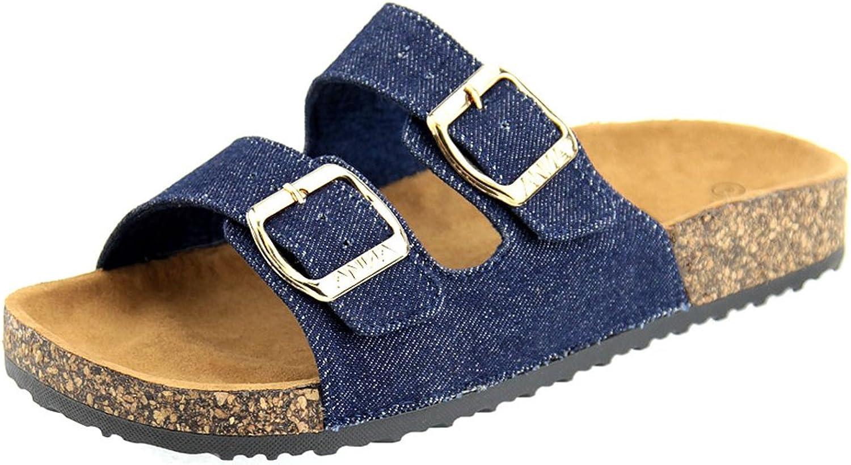 Cambridge Select Women's Classic Buckled Two-Strap Slip-On Flat Slide Sandal