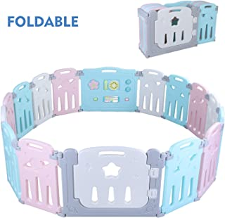 POTBY Star Pattern Foldable Baby Playpen 16 Panel Activity Center Safety Playard, One-Click Folding, Double Layer Clasp and Anti-Slip Base Kid's Fence Indoor Outdoor for Children 10 Months~6 Years Old