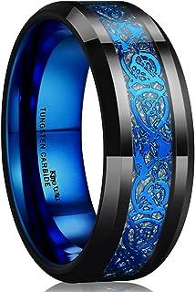 King Will Dragon Men Tungsten Carbide Ring 8mm Silver/Blue/Black Celtic Dragon Wedding Band Polish Finish