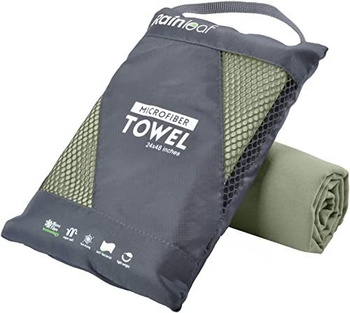 Rainleaf Microfiber Towel Perfect Travel & Sports &Beach Towel. Fast Drying - Super Absorbent - Ultra Compact. Suitab...
