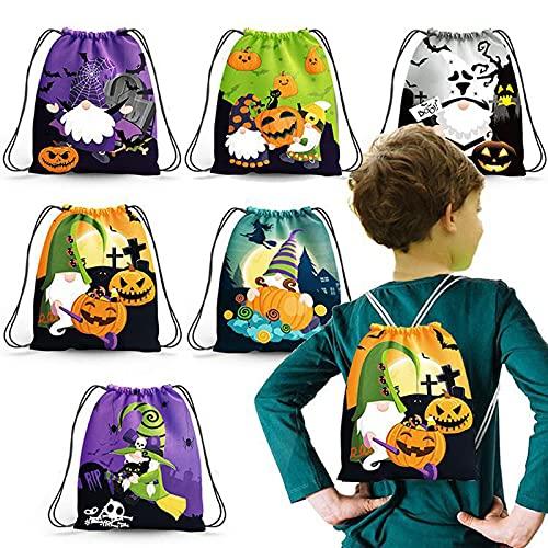 BRISEZZ Halloween Zwerg Dekoration Süßigkeiten Tasche Kinder Beam Rucksack Tasche Halloween Kürbis Grimasse Geisterfledermaus Print Süßigkeiten Beam Tasche 6pcs