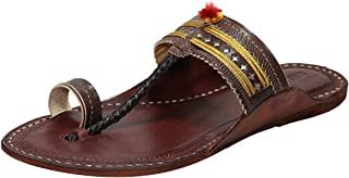 KALAPURI Ladies Comfortable Kolhapuri Chappal in Export Quality Genuine Leather with Reddish Brown Pointed Shape Base and ...