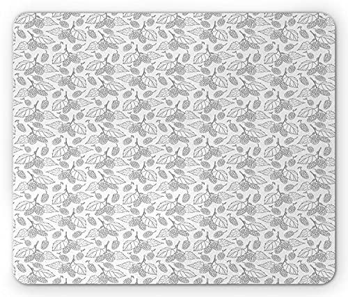 Mulberry Mouse Pad, Fortsetzung Bleistift gezeichnete Umrisse von Mulberry auf Zweigen Bio, Rechteck rutschfest Gummi Mousepad, Standard Charcoal Grey White