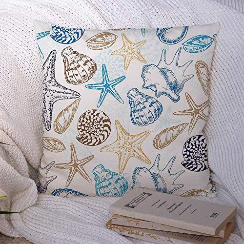 Cojín decorativo Funda de almohada Poliéster Verano Elegante Mano Caracol Conchas de...
