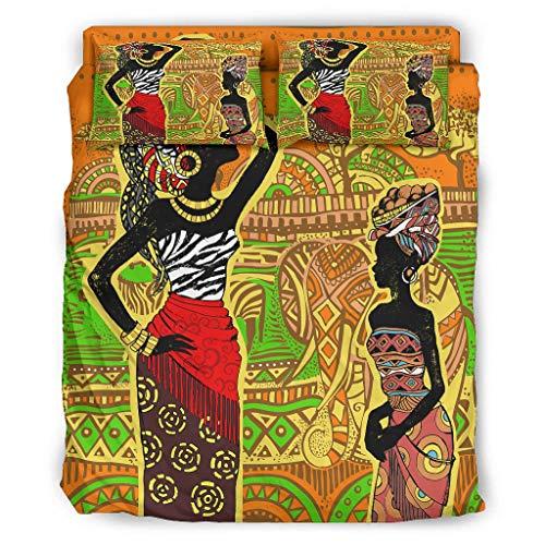 Afri-can Ameri-can - Ropa de cama para mujer, acabado fino, varios diseños, cama de Navidad, 240 x 264 cm, color blanco