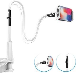 スマホベッドスタンド, Lomicall 寝ながらベット用スマホホルダー : フレキシブルアームすたんど, スマホ固定スタンド, クランプ式, smartphone holder, ごろ寝, クネクネ, アイフォン, android, iPhone XS XS Max XR X 8 7 7plus 6 6s 6plus, Sony Xperia, Nexus, kindle, nintendo switchに対応