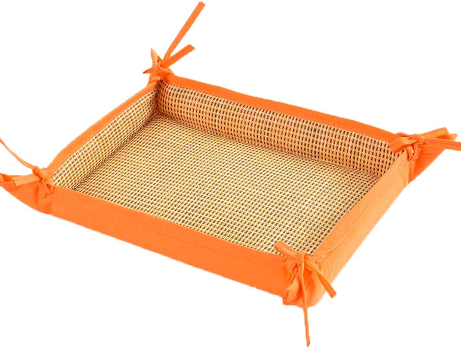 Rattan MultiPurpose pet nest, Large Medium Dog Teddy cat Dog Bed, Four Seasons Universal pet Supplies pad (color   orange)