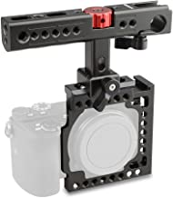 CAMVATE Aluminum Camera Cage for Sony A6500,A6000,A6300,ILCE-6000,ILCE-6300,NEX7 with Conversion Top Handle Grip and 1/4-20 Adapter Hole Attach DIY Accessories(Black)