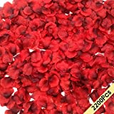 CODE FLORIST 2200 PCS Dark-Red Silk Rose Petals Wedding Flower Decoration