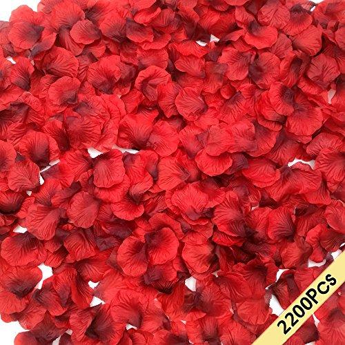 CODE FLORIST 2200 PCS Dark-Red Silk Rose Petals Wedding Flower Decoration, 2 Inch Black